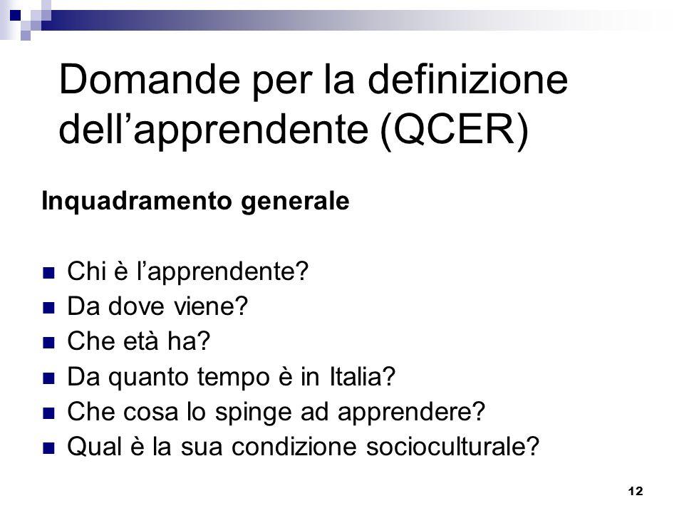 12 Domande per la definizione dellapprendente (QCER) Inquadramento generale Chi è lapprendente? Da dove viene? Che età ha? Da quanto tempo è in Italia