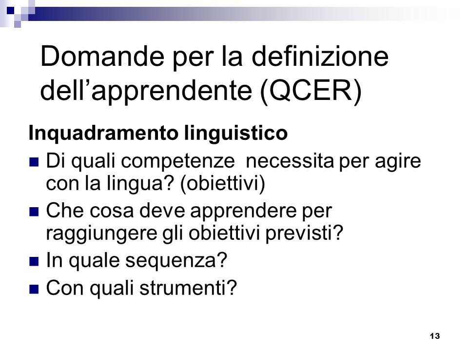 13 Domande per la definizione dellapprendente (QCER) Inquadramento linguistico Di quali competenze necessita per agire con la lingua? (obiettivi) Che