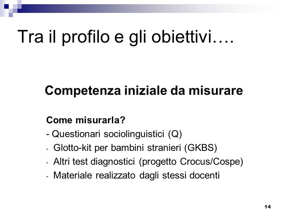 14 Tra il profilo e gli obiettivi…. Competenza iniziale da misurare Come misurarla? - Questionari sociolinguistici (Q) - Glotto-kit per bambini strani