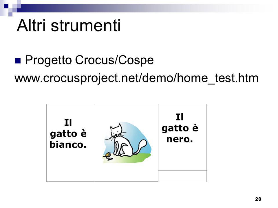 20 Altri strumenti Progetto Crocus/Cospe www.crocusproject.net/demo/home_test.htm Il gatto è bianco. Il gatto è nero.