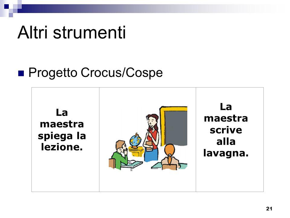 21 Altri strumenti Progetto Crocus/Cospe La maestra spiega la lezione. La maestra scrive alla lavagna.