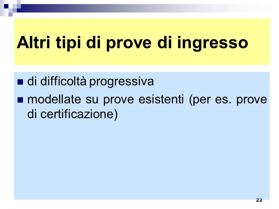 22 Altri tipi di prove di ingresso di difficoltà progressiva modellate su prove esistenti (per es. prove di certificazione)