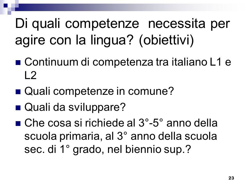 23 Di quali competenze necessita per agire con la lingua? (obiettivi) Continuum di competenza tra italiano L1 e L2 Quali competenze in comune? Quali d