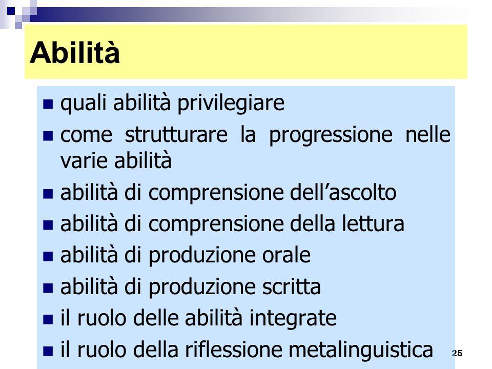 25 Abilità quali abilità privilegiare come strutturare la progressione nelle varie abilità abilità di comprensione dellascolto abilità di comprensione