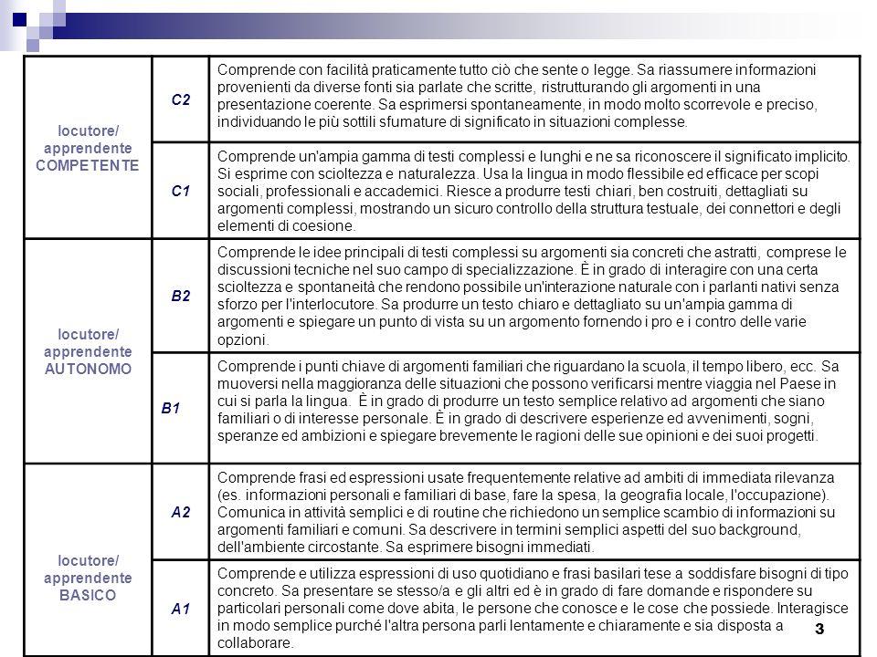 4 Dimensioni dellapprendimento della L2 secondo il QCER DIMENSIONE VERTICALE: la scala ascendente di livelli che segnano il continuum della competenza DIMENSIONE ORIZZONTALE: parametri di gestione dellattività comunicativa (ambiti e domini duso della L2, contesti di comunicazione, abilità, testi)