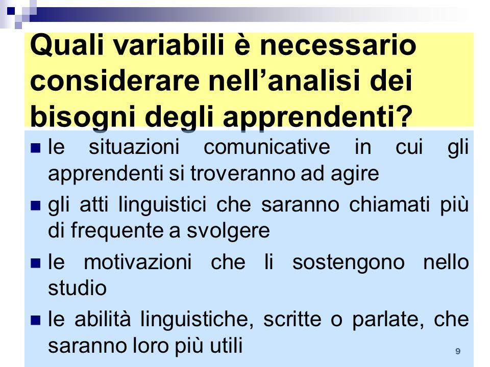 9 Quali variabili è necessario considerare nellanalisi dei bisogni degli apprendenti? le situazioni comunicative in cui gli apprendenti si troveranno