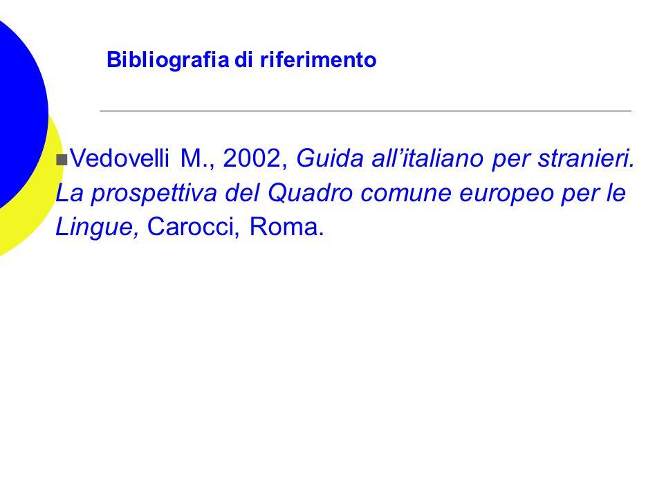 Bibliografia di riferimento Vedovelli M., 2002, Guida allitaliano per stranieri. La prospettiva del Quadro comune europeo per le Lingue, Carocci, Roma