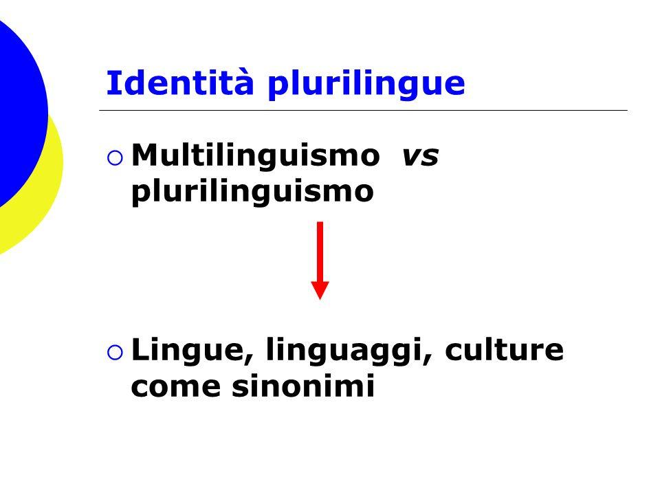 Identità plurilingue Multilinguismo vs plurilinguismo Lingue, linguaggi, culture come sinonimi