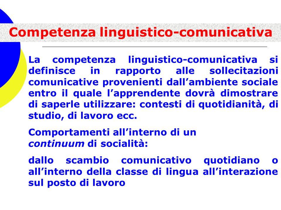La competenza linguistico-comunicativa si definisce in rapporto alle sollecitazioni comunicative provenienti dallambiente sociale entro il quale lappr