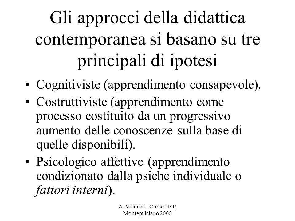 A. Villarini - Corso USP, Montepulciano 2008 Gli approcci della didattica contemporanea si basano su tre principali di ipotesi Cognitiviste (apprendim