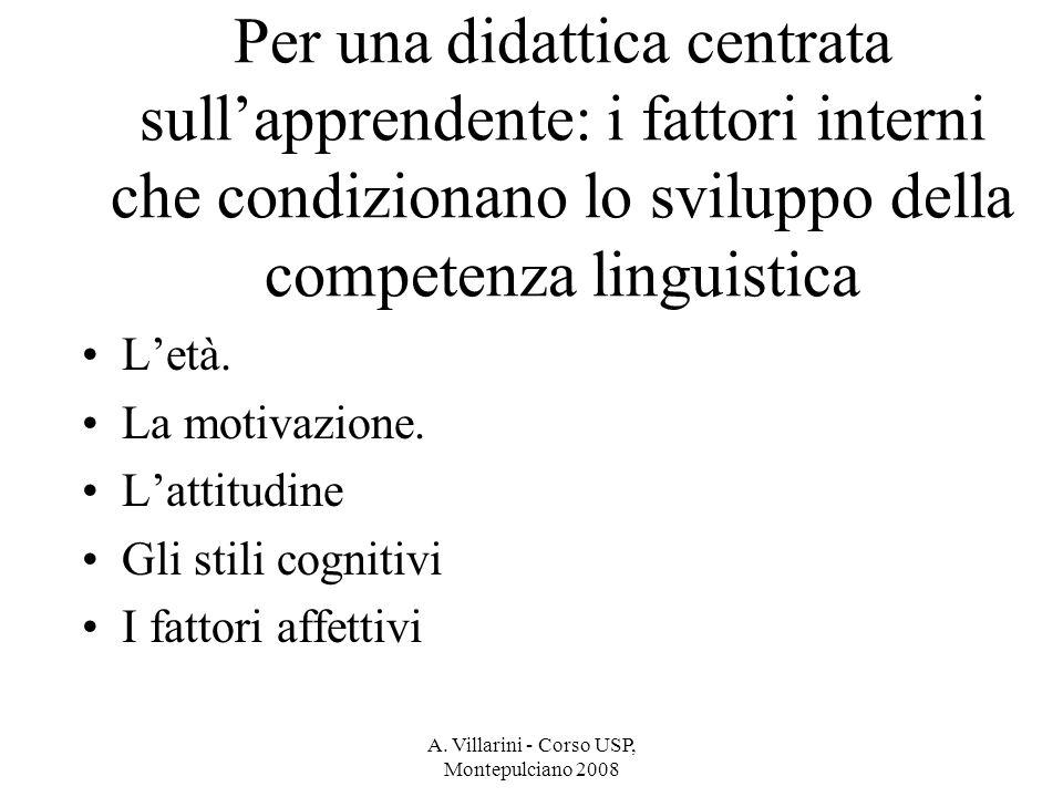 A. Villarini - Corso USP, Montepulciano 2008 Per una didattica centrata sullapprendente: i fattori interni che condizionano lo sviluppo della competen