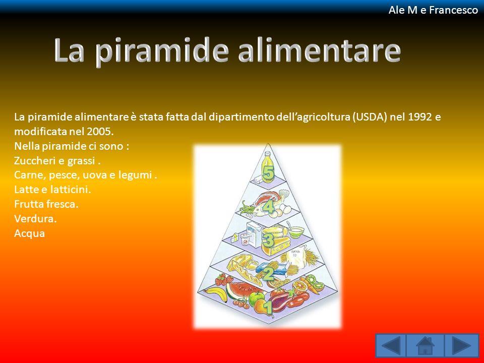 La piramide alimentare è stata fatta dal dipartimento dellagricoltura (USDA) nel 1992 e modificata nel 2005. Nella piramide ci sono : Zuccheri e grass