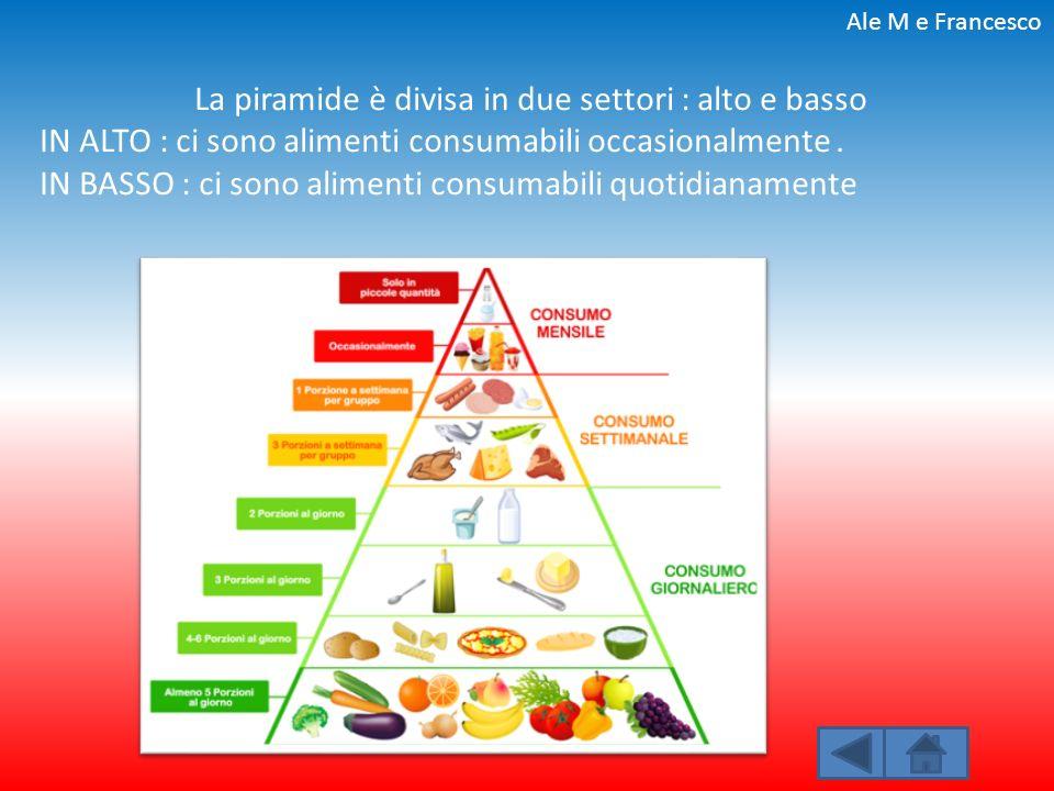 La piramide è divisa in due settori : alto e basso IN ALTO : ci sono alimenti consumabili occasionalmente. IN BASSO : ci sono alimenti consumabili quo