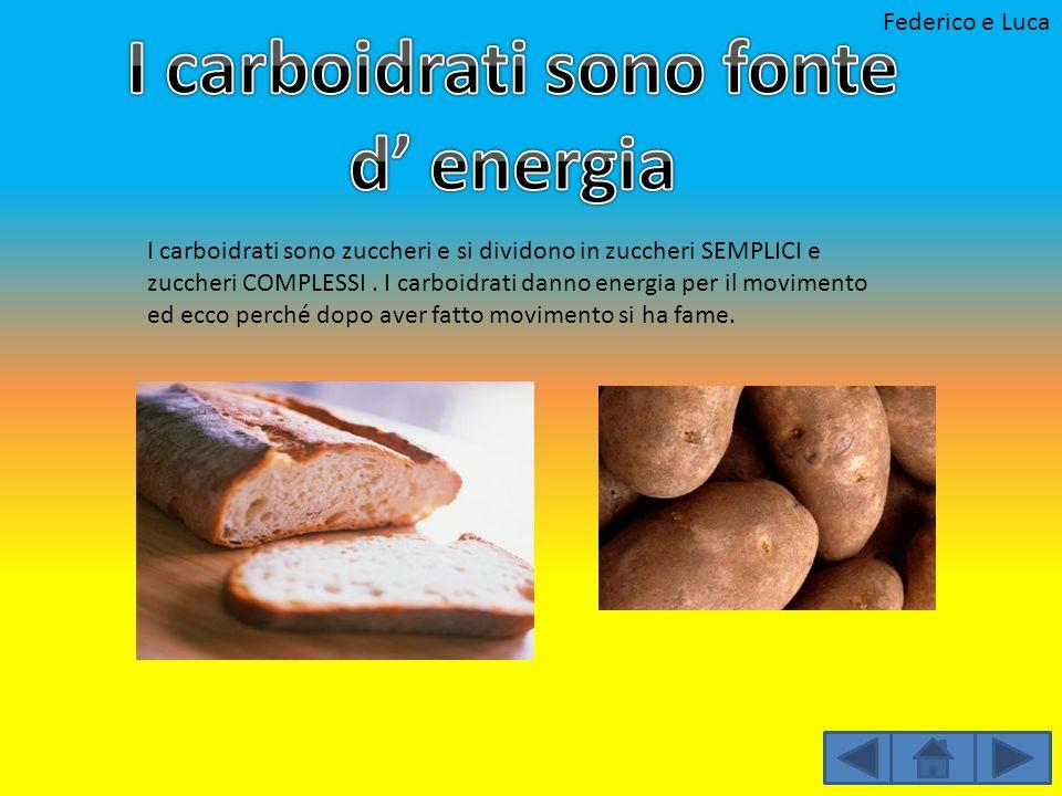 I carboidrati sono zuccheri e si dividono in zuccheri SEMPLICI e zuccheri COMPLESSI. I carboidrati danno energia per il movimento ed ecco perché dopo
