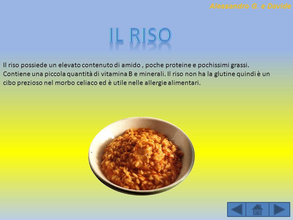 Il riso possiede un elevato contenuto di amido, poche proteine e pochissimi grassi. Contiene una piccola quantità di vitamina B e minerali. Il riso no