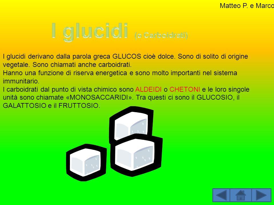 I glucidi derivano dalla parola greca GLUCOS cioè dolce. Sono di solito di origine vegetale. Sono chiamati anche carboidrati. Hanno una funzione di ri