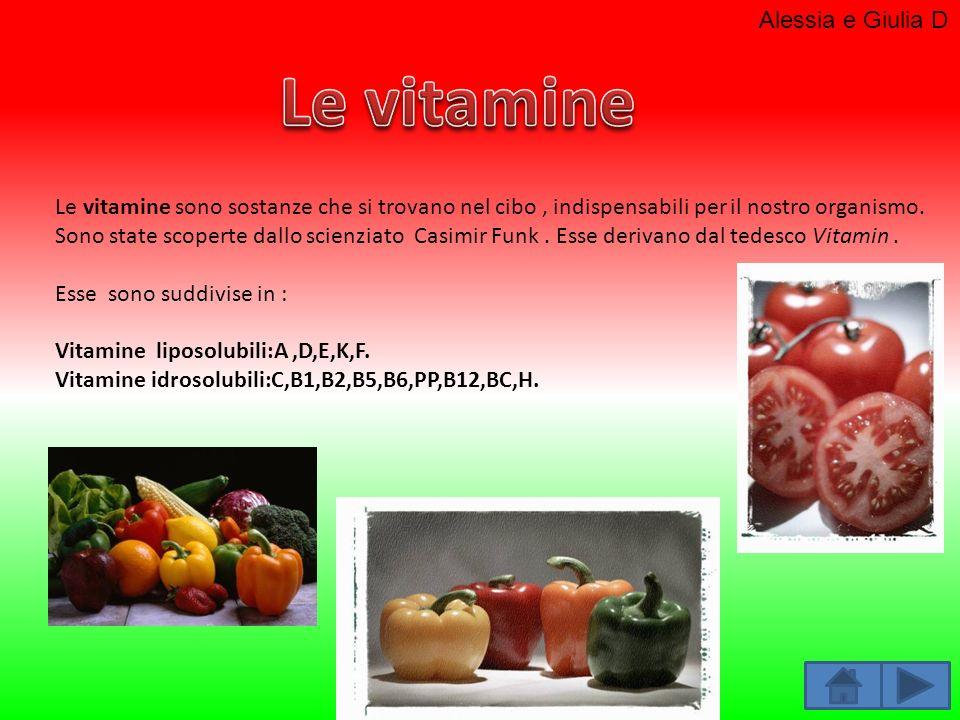 Le vitamine sono sostanze che si trovano nel cibo, indispensabili per il nostro organismo. Sono state scoperte dallo scienziato Casimir Funk. Esse der