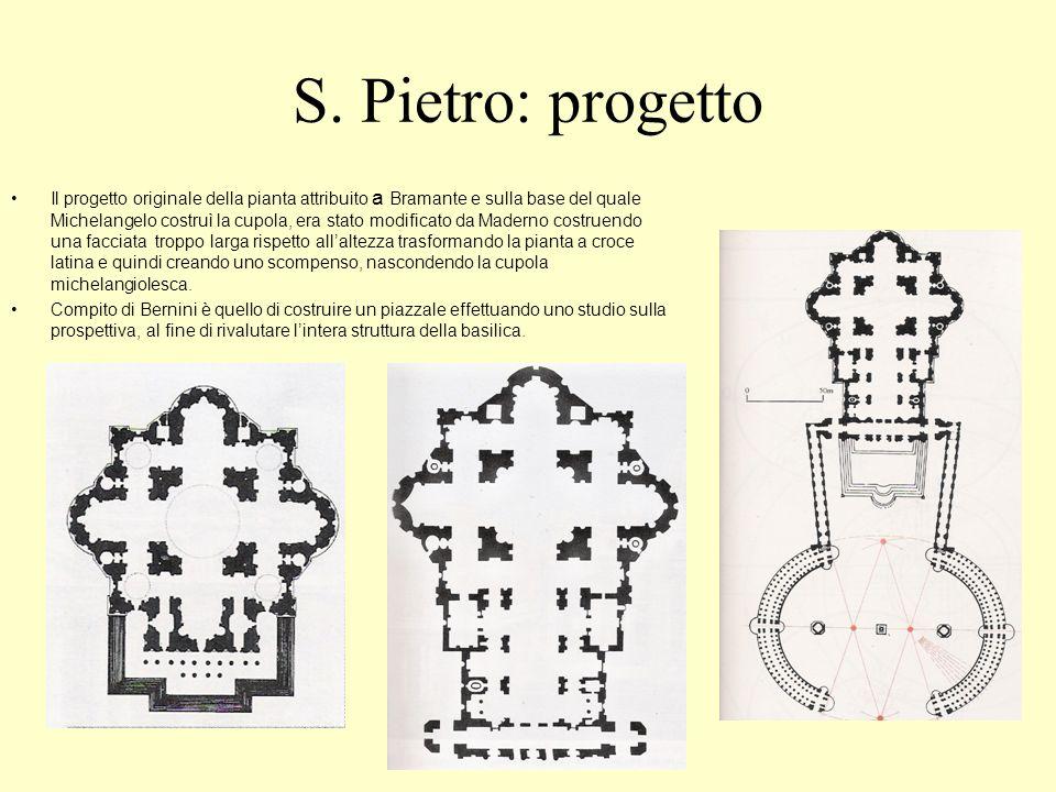 S. Pietro: progetto Il progetto originale della pianta attribuito a Bramante e sulla base del quale Michelangelo costruì la cupola, era stato modifica