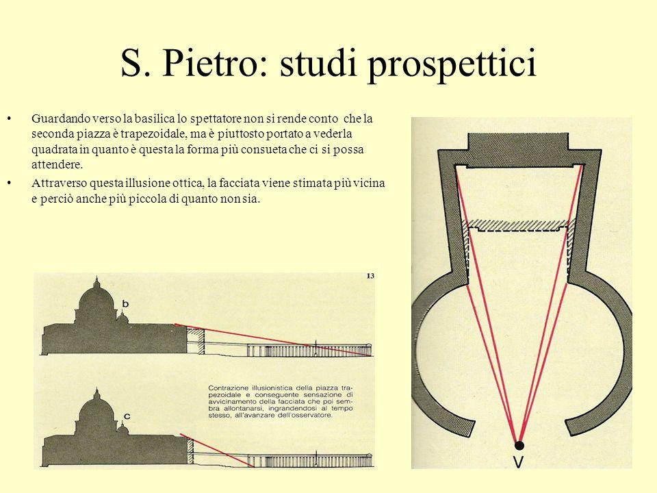 S. Pietro: studi prospettici Guardando verso la basilica lo spettatore non si rende conto che la seconda piazza è trapezoidale, ma è piuttosto portato