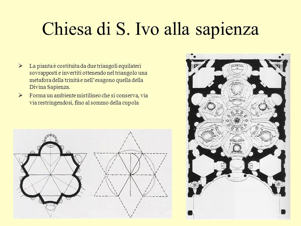 Chiesa di S. Ivo alla sapienza La pianta è costituita da due triangoli equilateri sovrapposti e invertiti ottenendo nel triangolo una metafora della t