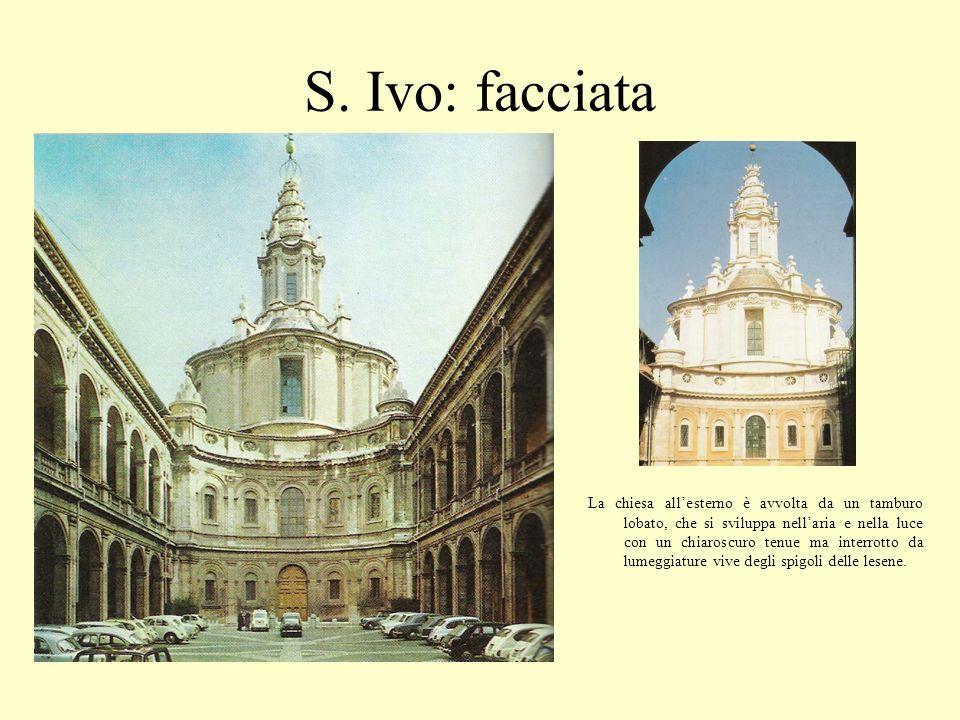 S. Ivo: facciata La chiesa allesterno è avvolta da un tamburo lobato, che si sviluppa nellaria e nella luce con un chiaroscuro tenue ma interrotto da