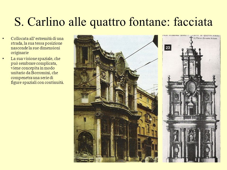 S. Carlino alle quattro fontane: facciata Collocata allestremità di una strada, la sua tessa posizione nasconde la sue dimensioni originarie La sua vi