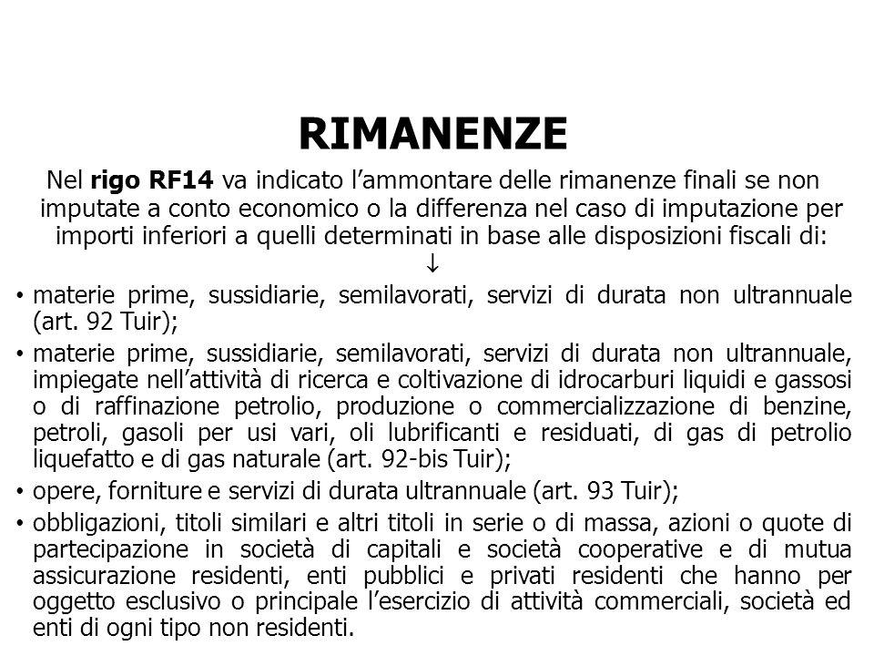 RIMANENZE Nel rigo RF14 va indicato lammontare delle rimanenze finali se non imputate a conto economico o la differenza nel caso di imputazione per im