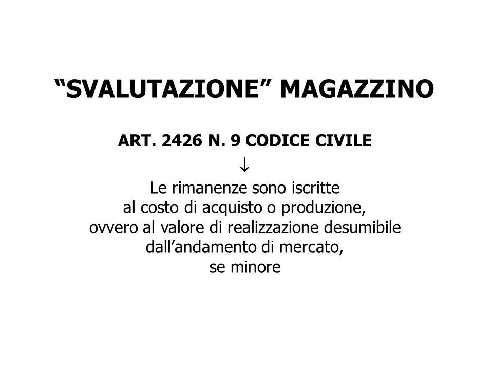 SVALUTAZIONE MAGAZZINO ART. 2426 N. 9 CODICE CIVILE Le rimanenze sono iscritte al costo di acquisto o produzione, ovvero al valore di realizzazione de
