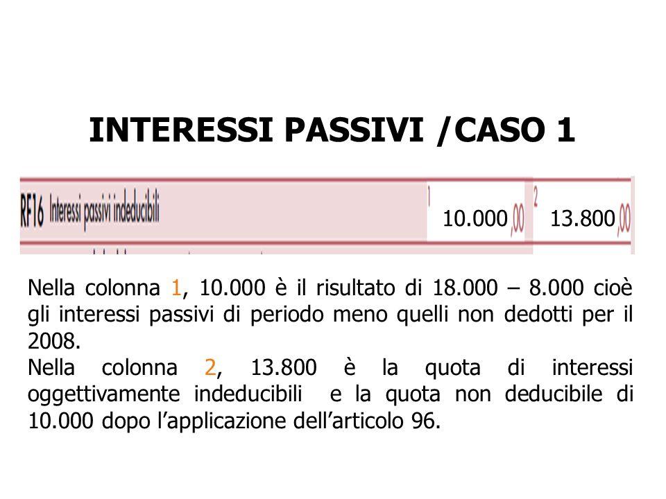 INTERESSI PASSIVI /CASO 1 10.00013.800 Nella colonna 1, 10.000 è il risultato di 18.000 – 8.000 cioè gli interessi passivi di periodo meno quelli non
