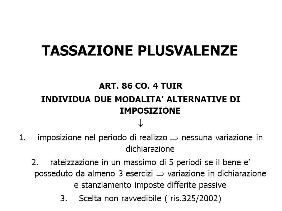TASSAZIONE PLUSVALENZE ART. 86 CO. 4 TUIR INDIVIDUA DUE MODALITA ALTERNATIVE DI IMPOSIZIONE 1.imposizione nel periodo di realizzo nessuna variazione i