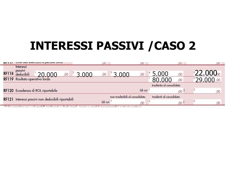 INTERESSI PASSIVI /CASO 2 20.0003.000 5.000 22.000 80.000 29.000