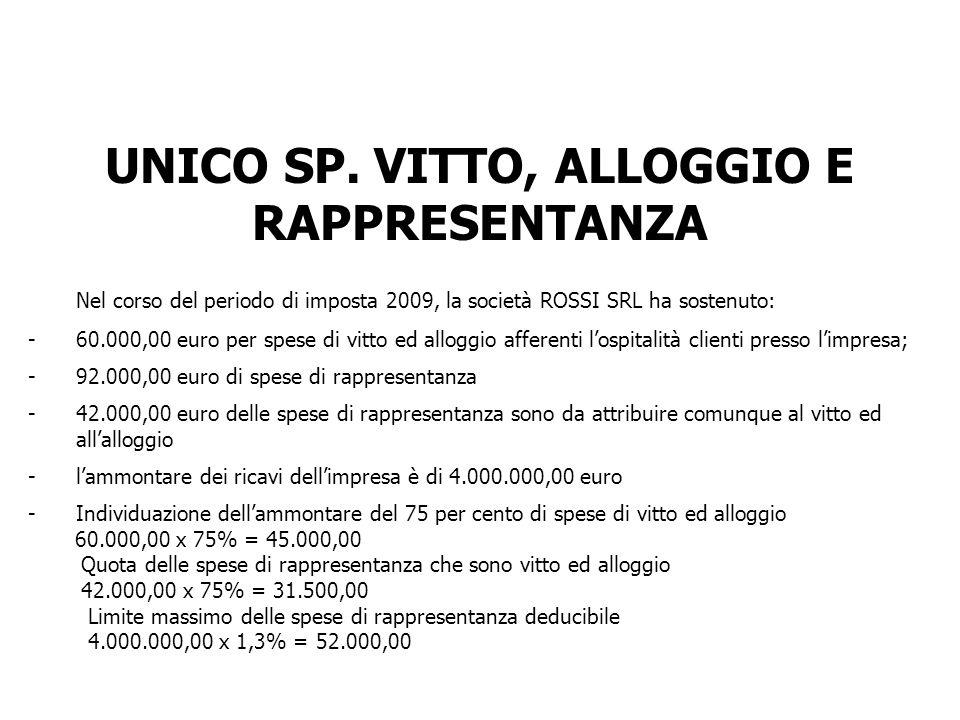 UNICO SP. VITTO, ALLOGGIO E RAPPRESENTANZA Nel corso del periodo di imposta 2009, la società ROSSI SRL ha sostenuto: -60.000,00 euro per spese di vitt