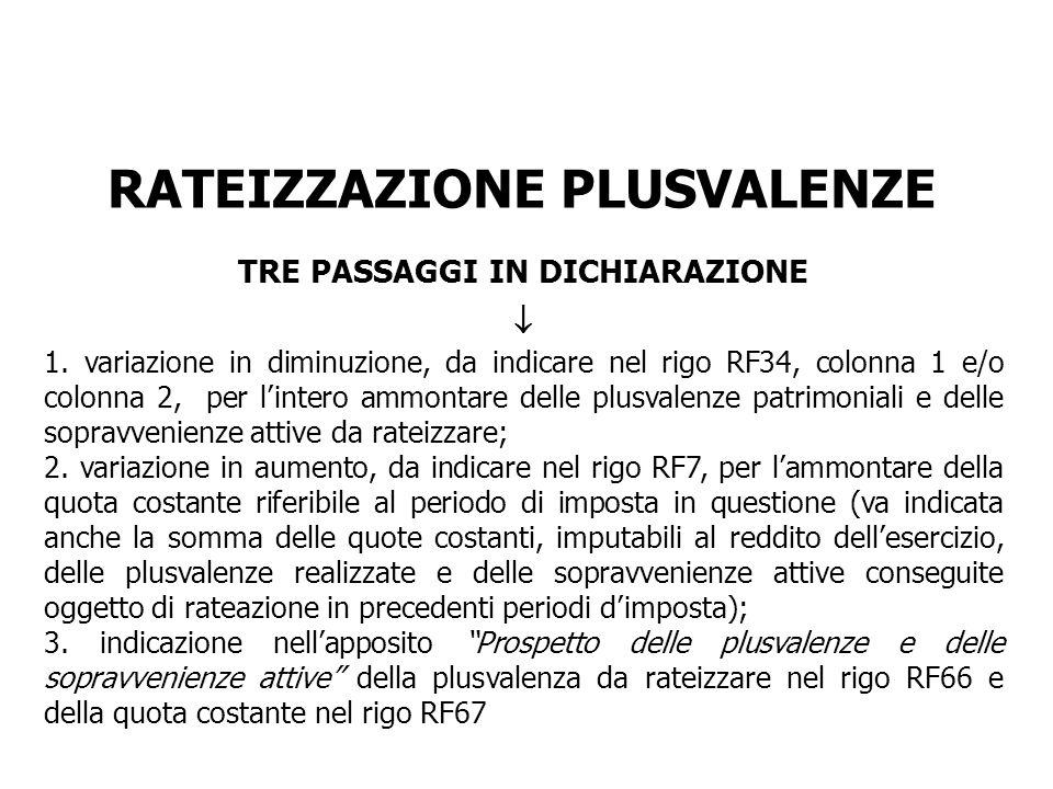 RATEIZZAZIONE PLUSVALENZE TRE PASSAGGI IN DICHIARAZIONE 1. variazione in diminuzione, da indicare nel rigo RF34, colonna 1 e/o colonna 2, per lintero