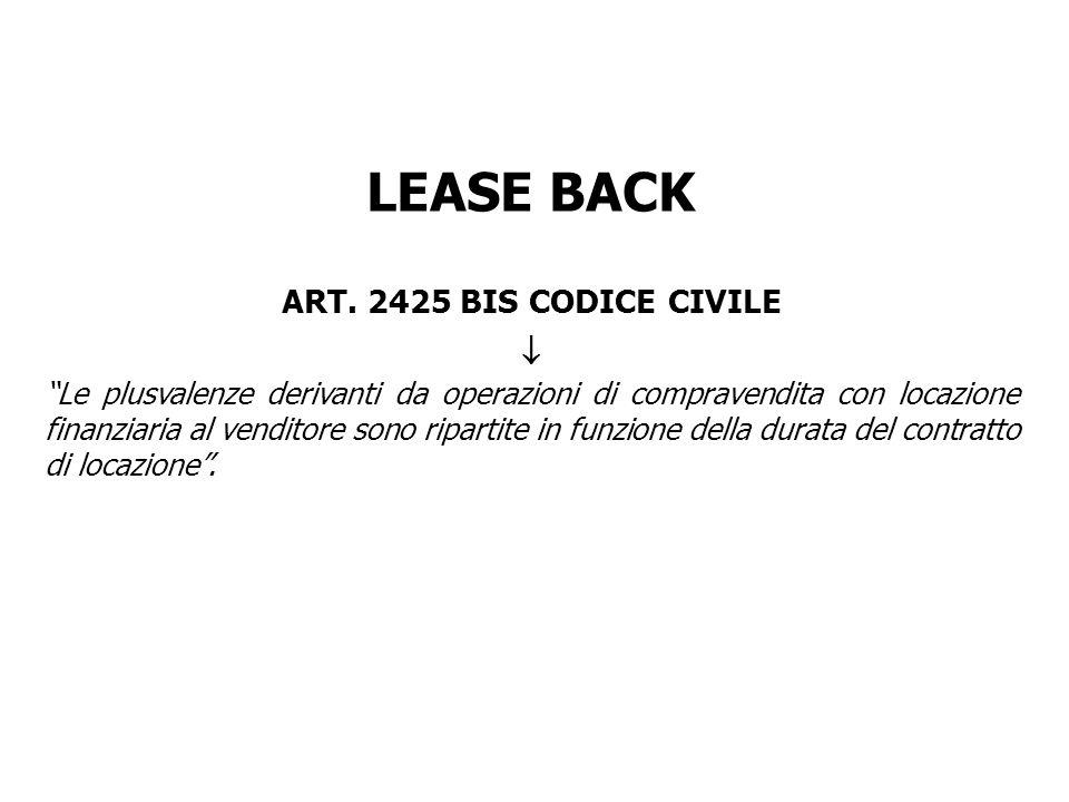 LEASE BACK ART. 2425 BIS CODICE CIVILE Le plusvalenze derivanti da operazioni di compravendita con locazione finanziaria al venditore sono ripartite i