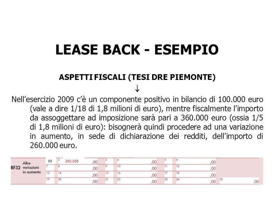 LEASE BACK - ESEMPIO ASPETTI FISCALI (TESI DRE PIEMONTE) Nellesercizio 2009 cè un componente positivo in bilancio di 100.000 euro (vale a dire 1/18 di