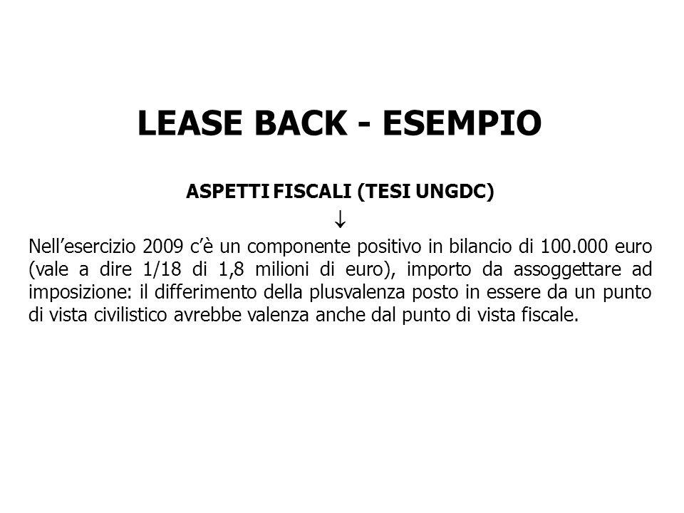 LEASE BACK - ESEMPIO ASPETTI FISCALI (TESI UNGDC) Nellesercizio 2009 cè un componente positivo in bilancio di 100.000 euro (vale a dire 1/18 di 1,8 mi