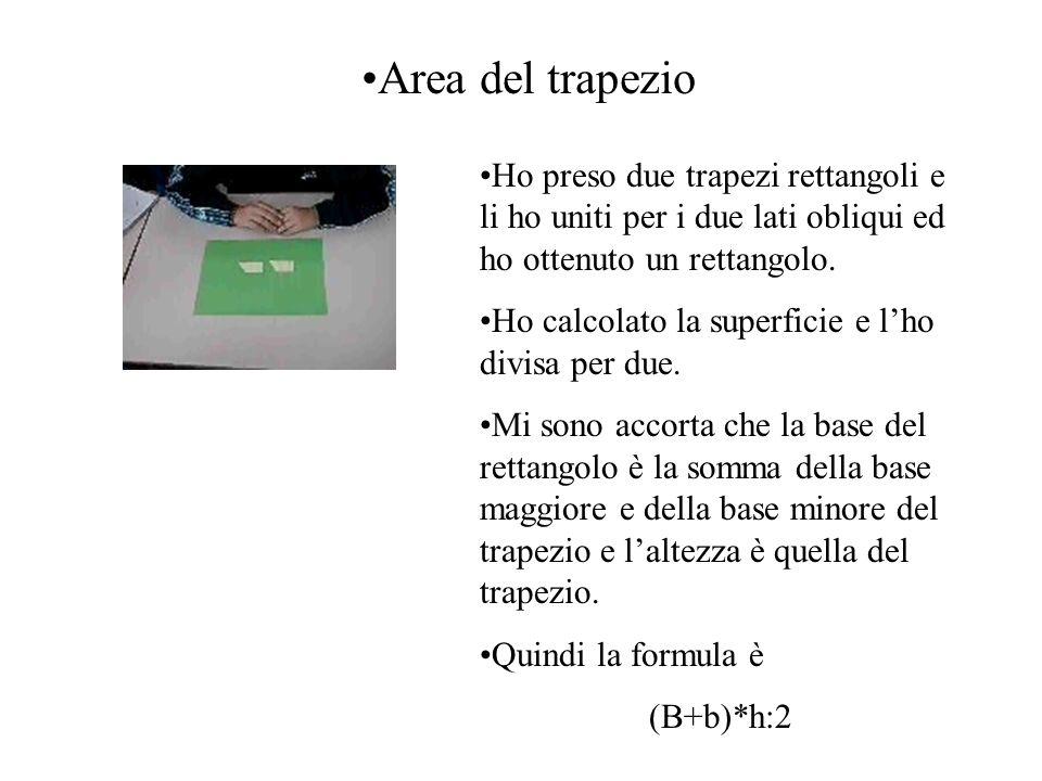 Area del trapezio Ho preso due trapezi rettangoli e li ho uniti per i due lati obliqui ed ho ottenuto un rettangolo. Ho calcolato la superficie e lho