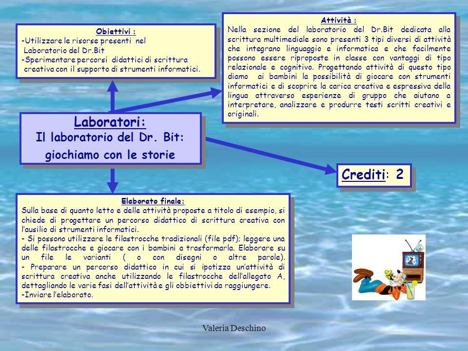 Valeria Deschino Obiettivi : -Utilizzare le risorse presenti nel Laboratorio del Dr.Bit -Sperimentare percorsi didattici di scrittura creativa con il