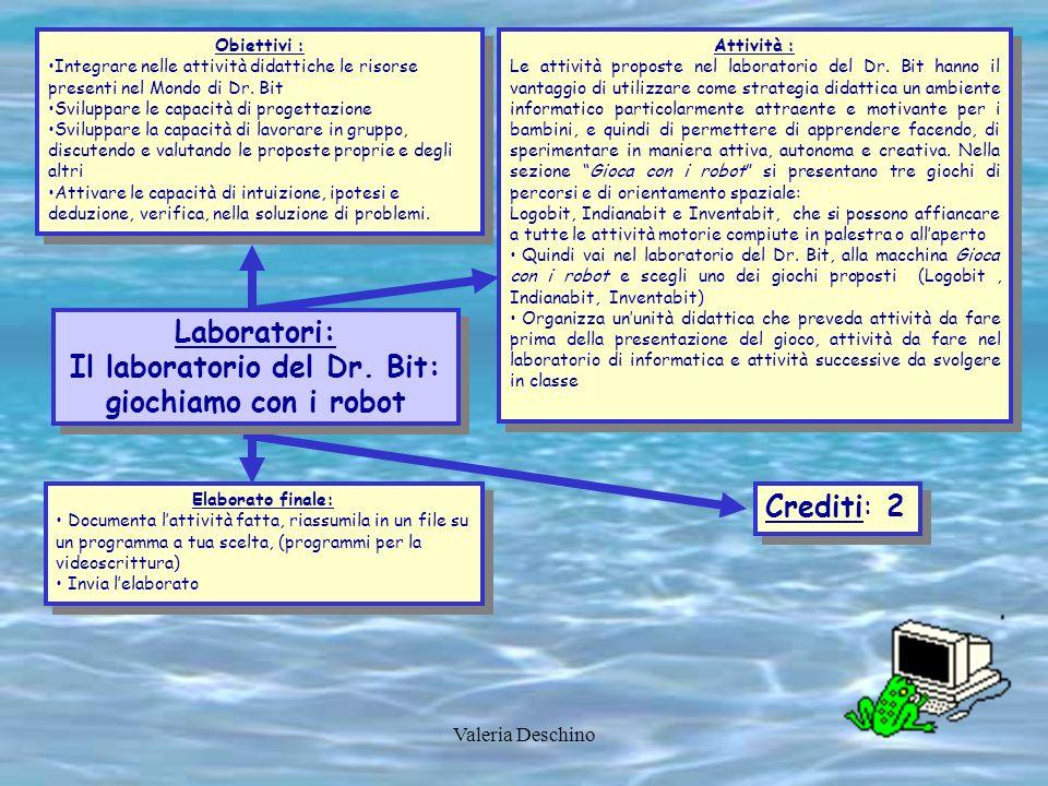Valeria Deschino Obiettivi : Integrare nelle attività didattiche le risorse presenti nel Mondo di Dr. Bit Sviluppare le capacità di progettazione Svil