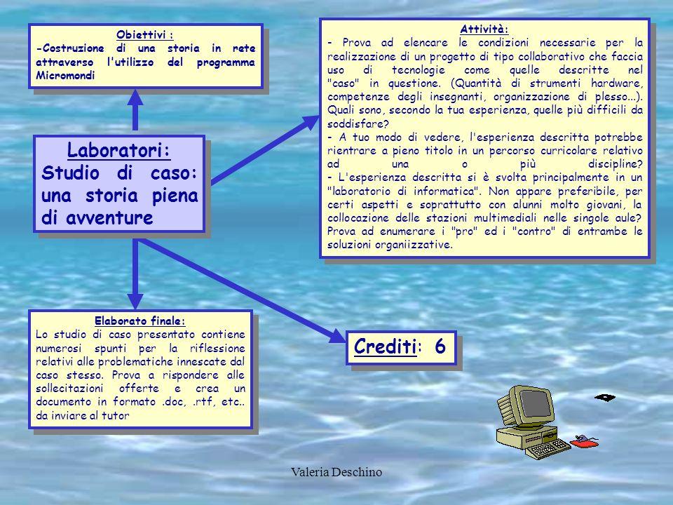 Valeria Deschino Obiettivi : -Costruzione di una storia in rete attraverso l'utilizzo del programma Micromondi Obiettivi : -Costruzione di una storia