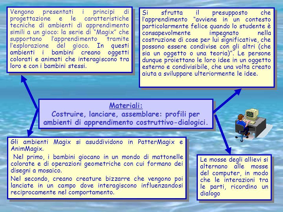Valeria Deschino Materiali: Costruire, lanciare, assemblare: profili per ambienti di apprendimento costruttivo-dialogici. Materiali: Costruire, lancia