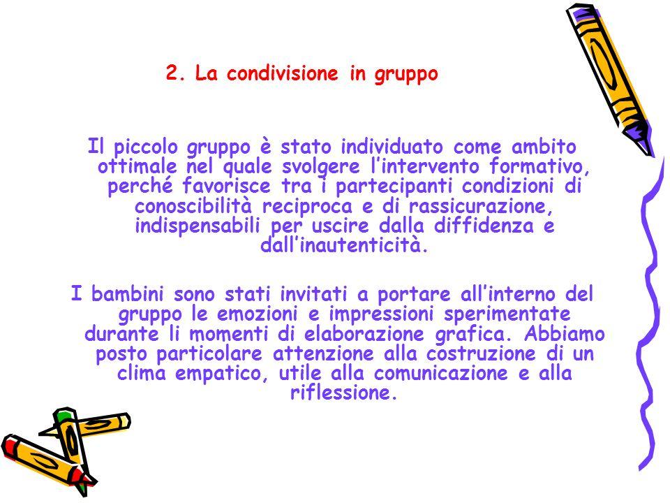 2. La condivisione in gruppo Il piccolo gruppo è stato individuato come ambito ottimale nel quale svolgere lintervento formativo, perché favorisce tra