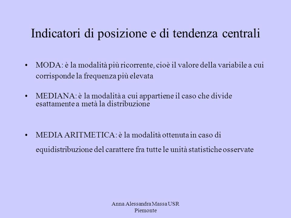 Anna Alessandra Massa USR Piemonte MEDIANA per calcolare la mediana è necessario: ordinare le modalità del carattere in modo crescente; calcolare le frequenze assolute cumulate; osservare in quale modalità cade il caso mediano.