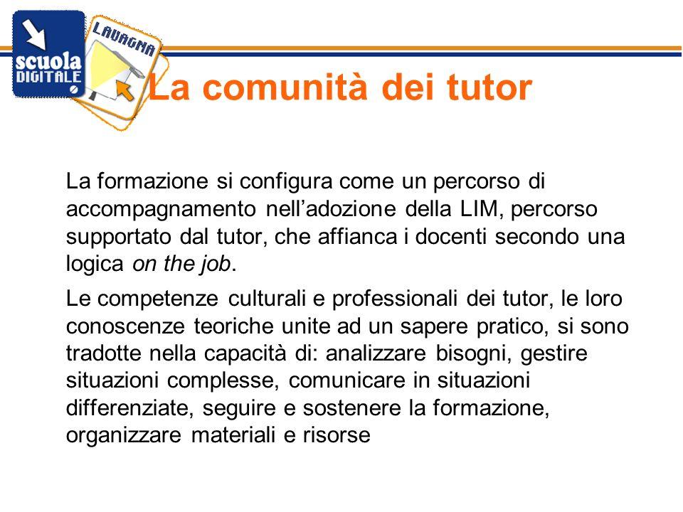 La comunità dei tutor La formazione si configura come un percorso di accompagnamento nelladozione della LIM, percorso supportato dal tutor, che affian