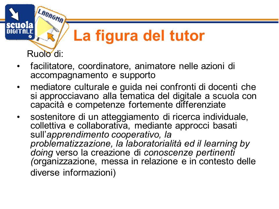 La figura del tutor Ruolo di: facilitatore, coordinatore, animatore nelle azioni di accompagnamento e supporto mediatore culturale e guida nei confron