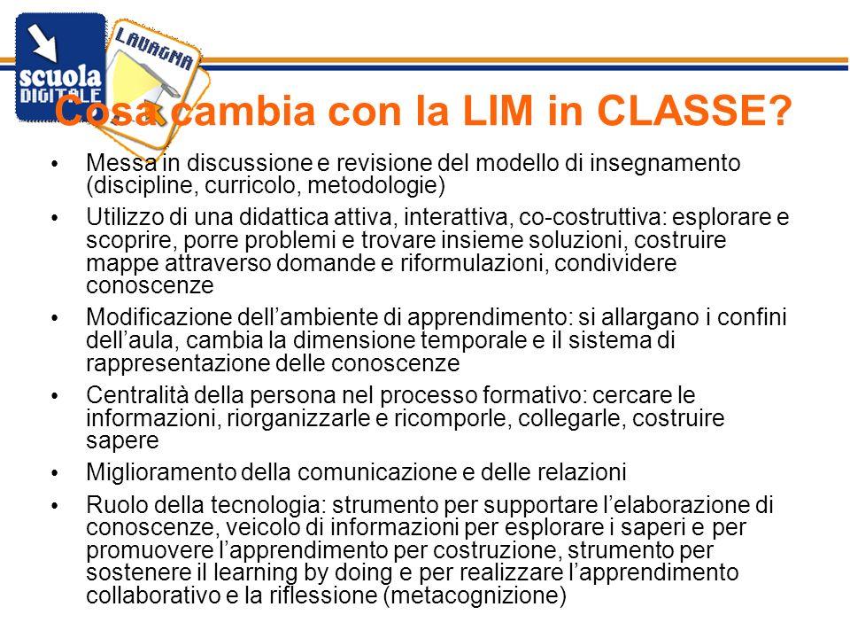 Cosa cambia con la LIM in CLASSE? Messa in discussione e revisione del modello di insegnamento (discipline, curricolo, metodologie) Utilizzo di una di