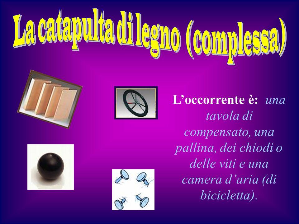 Loccorrente è: una tavola di compensato, una pallina, dei chiodi o delle viti e una camera daria (di bicicletta).