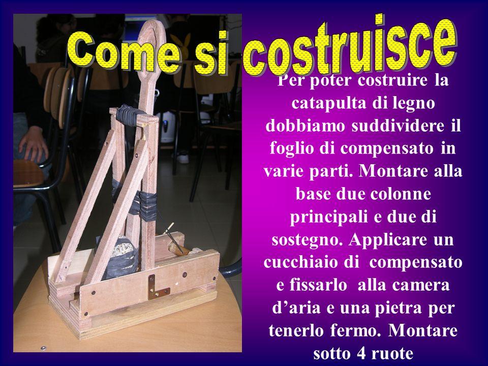 Per poter costruire la catapulta di legno dobbiamo suddividere il foglio di compensato in varie parti. Montare alla base due colonne principali e due