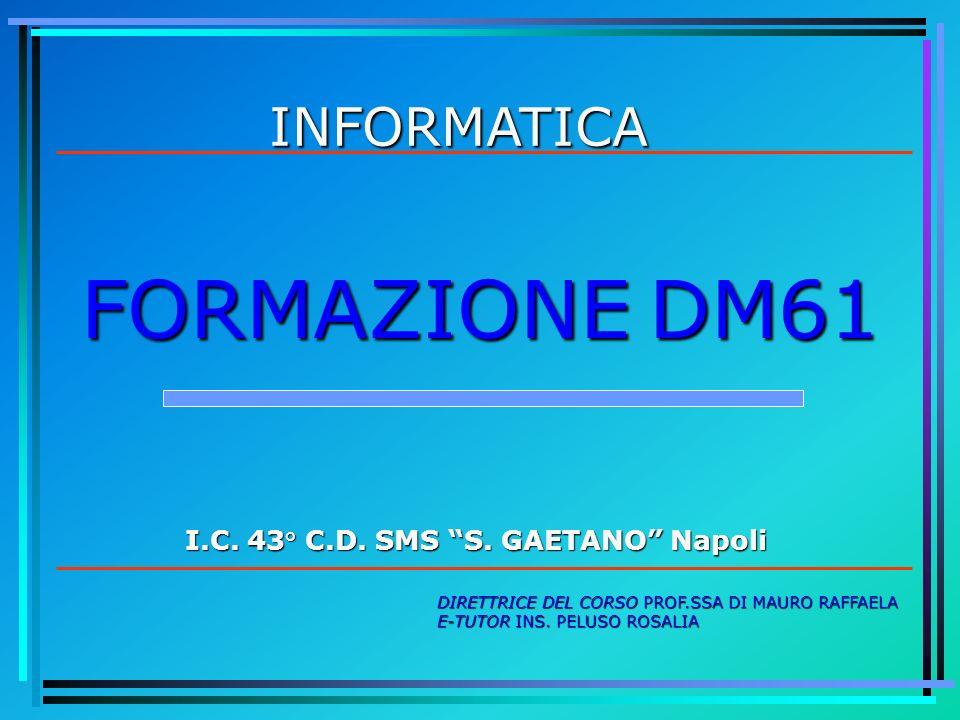 INFORMATICA I.C. 43° C.D. SMS S. GAETANO Napoli DIRETTRICE DEL CORSO PROF.SSA DI MAURO RAFFAELA E-TUTOR INS. PELUSO ROSALIA FORMAZIONE DM61