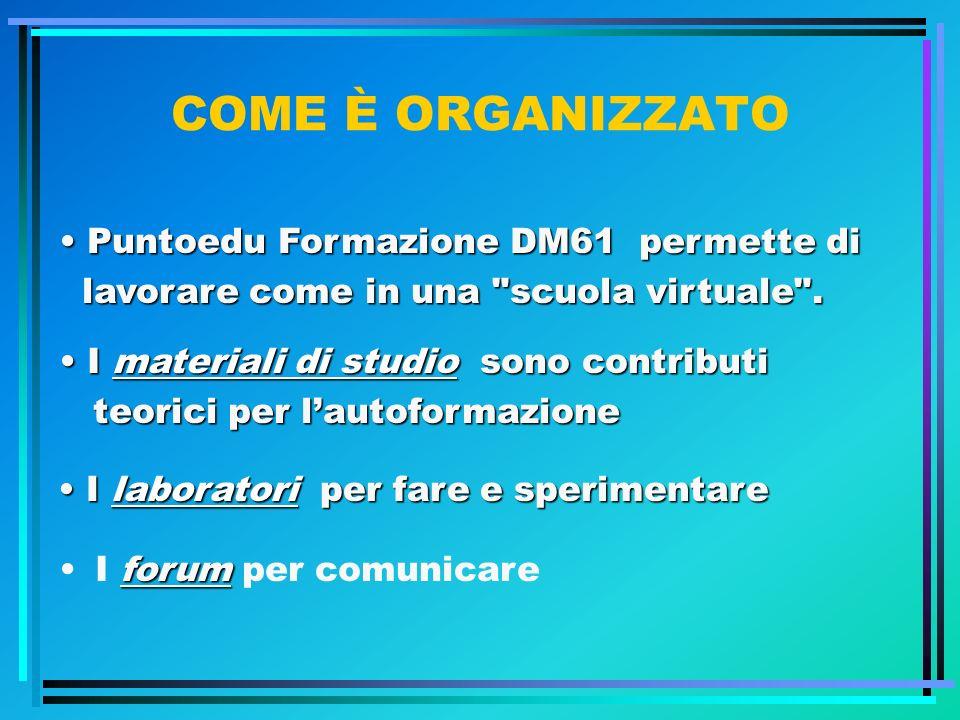 COME È ORGANIZZATO forumI forum per comunicare Puntoedu Formazione DM61 permette di Puntoedu Formazione DM61 permette di lavorare come in una